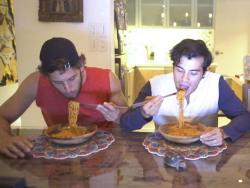 Nico Bolzico, Solenn Heussaff, and Erwan Heussaff take on spicy noodle challenge